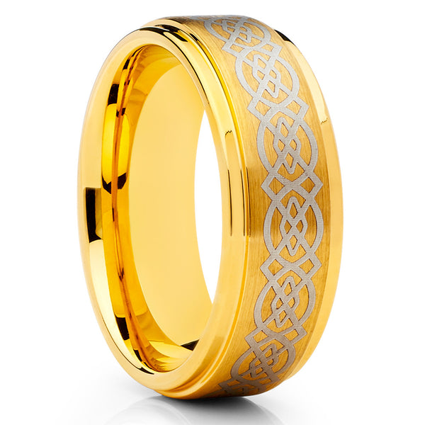 Yellow Gold Tungsten - Men's Wedding Band - Celtic Design - Yellow Gold Ring - Clean Casting Jewelry