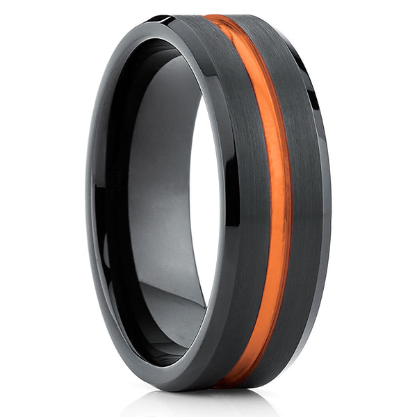 Orange Tungsten Wedding Band - Tungsten Carbide - Black Tungsten Ring Unique - Clean Casting Jewelry