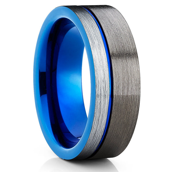 Gray Tungsten Wedding Band - Blue Tungsten Ring - Gunmetal Tungsten - Clean Casting Jewelry