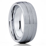 Men's Tungsten Wedding Band - Gray Tungsten Ring - 8mm - Brush Finish - Clean Casting Jewelry