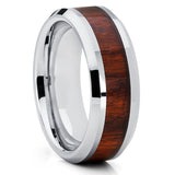 8mm,Tungsten Wedding Band,Koa Wood Tungsten Ring,Koa Wood Ring,Beveled