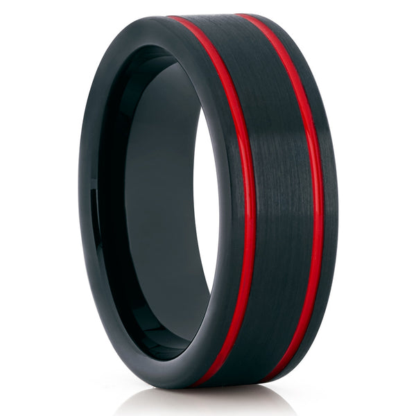 8mm - Red Tungsten Wedding Band - Red Wedding Ring - Tungsten Ring Brush - Clean Casting Jewelry