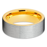 Yellow Gold Tungsten Wedding Ring - Silver Brushed - Tungsten Wedding Band - Clean Casting Jewelry