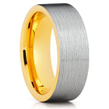 Yellow Gold Tungsten,Tungsten Wedding Ring,Tungsten Carbide Ring,Mens Ring,Brushed