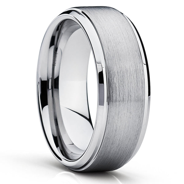 Silver Tungsten Ring - Men's Tungsten Band - Gray Tungsten Band - Brush - Clean Casting Jewelry
