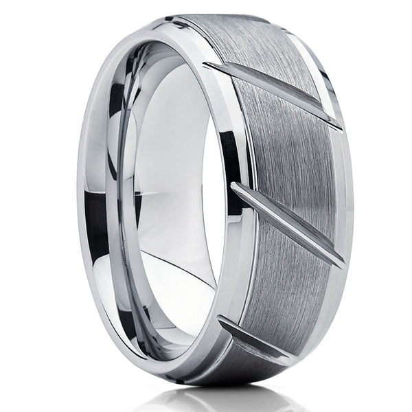 Gray Tungsten Wedding Band - Grooved Ring - Tungsten Carbide Ring - Brush - Clean Casting Jewelry