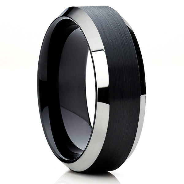 Black Tungsten Ring,Brushed Finish,Black Tungsten Band,Beveled Edges,Unique