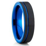 Blue Tungsten Wedding Band - Black Tungsten - Tungsten Wedding Ring - Clean Casting Jewelry