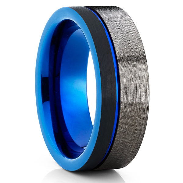 Blue Tungsten Wedding Band,Handmade,Black,Brushed,Gunmetal Wedding Band