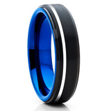 Black Brushed Silver Offset Stripe Tungsten Ring Comfort Fit