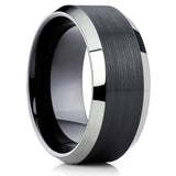 10mm,Black Tungsten,Tungsten Carbide Ring,Mans Tungsten Ring,Beveled Edges,Brushed