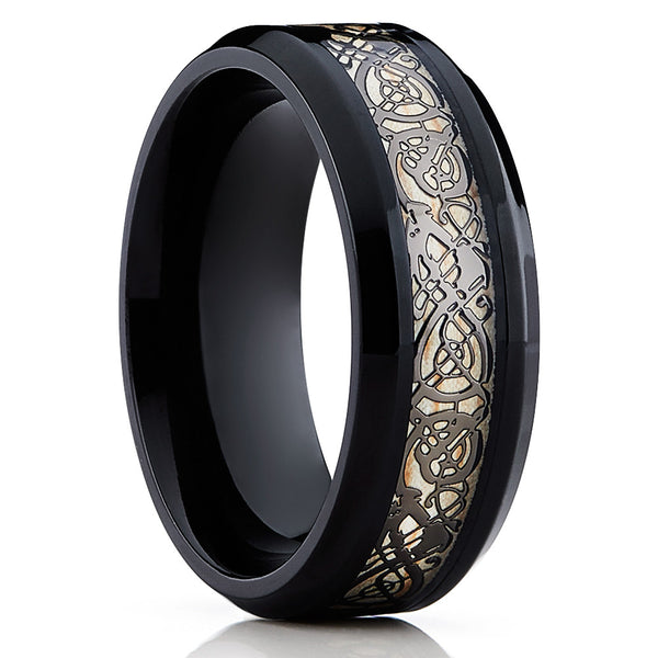 Black Tungsten Ring- Dragon Inlay - Tungsten Wedding Band - Unisex - Clean Casting Jewelry
