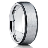 Tungsten Wedding Ring - Tungsten Wedding Band - Black Tungsten - Brush - Clean Casting Jewelry
