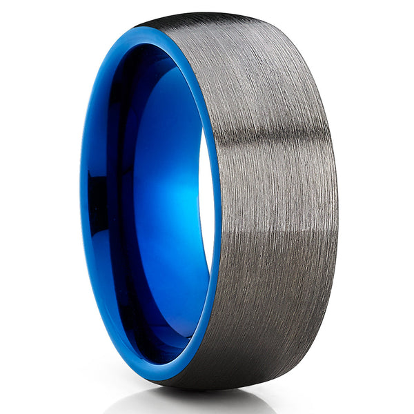 Blue Tungsten Wedding Band - Gunmetal Ring - Gray Tungsten Band - Brush - Clean Casting Jewelry