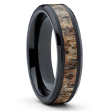 Deer Antler Ring - Tungsten Wedding Band - Deer Antler Wedding Band - Clean Casting Jewelry