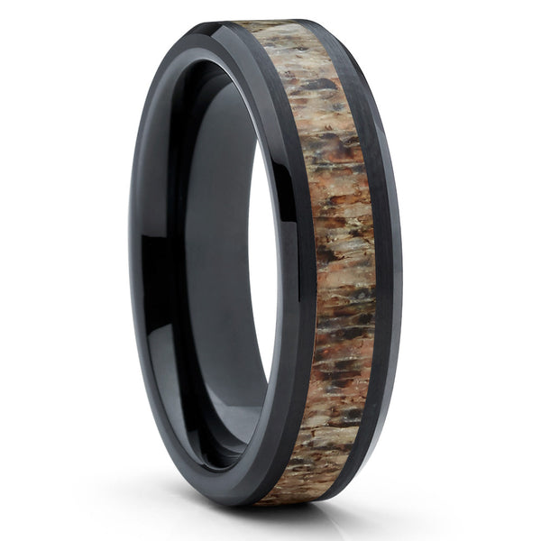 6mm,Deer Antler Ring,Black Tungsten Ring,Deer Antler Ring,Wedding Band