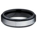 Black Wedding Band - Tungsten Wedding Band - Black Tungsten Ring - Brush - Clean Casting Jewelry