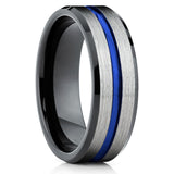 Blue Tungsten Ring - Tungsten Wedding Band - Black Tungsten Ring - Brush - Clean Casting Jewelry