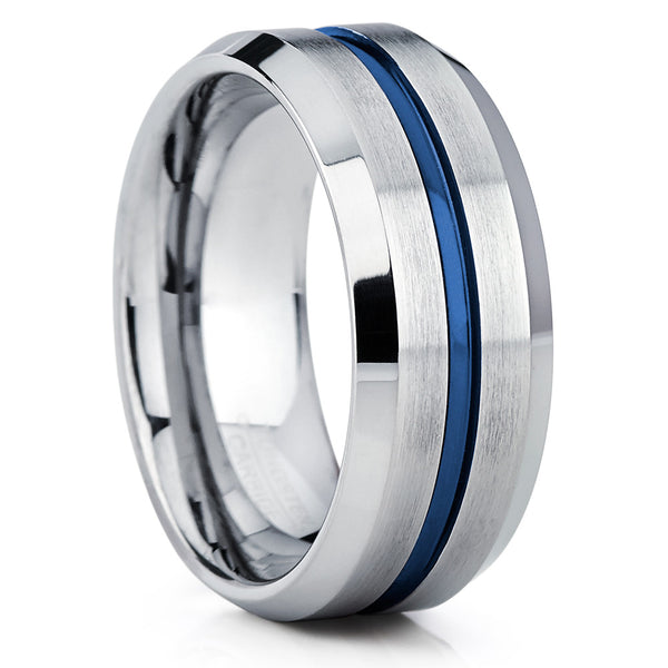 Blue Silver Tungsten Ring Brushed Finish Comfort Fit 9mm & 7mm - Clean Casting Jewelry