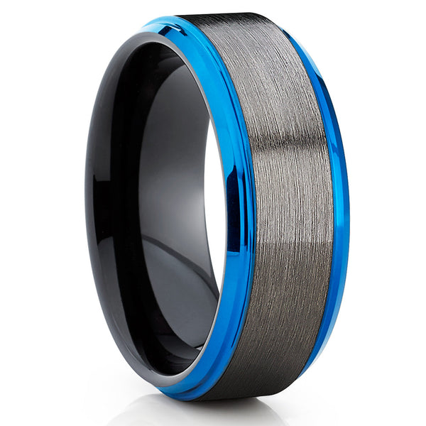 Blue Tungsten Ring - Tungsten Wedding Band - Gunmetal  - Black Tungsten - Clean Casting Jewelry