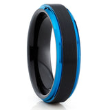 BLUE Tungsten Ring,Black Brushed,6mm & 8mm,Beveled Edges,Wedding Band,Unique