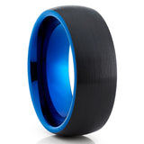 Blue Tungsten Wedding Band - Black Ring - Blue Tungsten Ring - Dome Ring - Clean Casting Jewelry