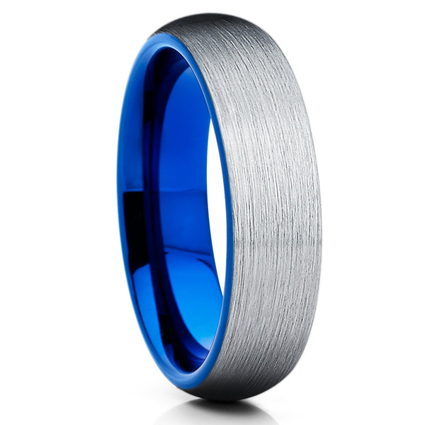 Blue Tungsten Wedding Band - Silver Brush - Tungsten Wedding Ring 6mm - Clean Casting Jewelry