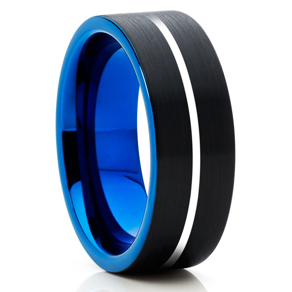 Tungsten Wedding Band,Blue Tungsten Ring,Tungsten Carbide,Black Tungsten,Brushed