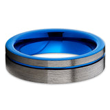 Blue Tungsten Ring,Handmade,Gunmetal Ring,Tungsten Carbide,Unique Tungsten