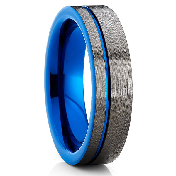 Blue Tungsten Wedding Band - Gunmetal Gray - Blue Tungsten Ring - Clean Casting Jewelry