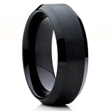 Black Tungsten Wedding Band - Beveled Edges - Men's Tungsten Ring Unique - Clean Casting Jewelry