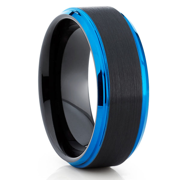 BLUE Tungsten Ring,Black Tungsten Ring,Blue Edges,Black Brushed,8mm Ring,Unique Style