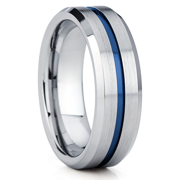 Blue Tungsten Wedding Band - Blue Tungsten Ring - 8mm - Silver Brush - Clean Casting Jewelry