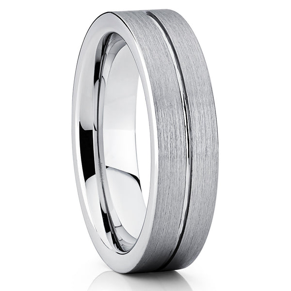 6mm - Tungsten Wedding Band - Silver Brushed - Gray Tungsten Ring - Brush - Clean Casting Jewelry