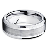 Tungsten Wedding Band - Silver Tungsten Ring - Brush Tungsten Ring - 8mm - Clean Casting Jewelry