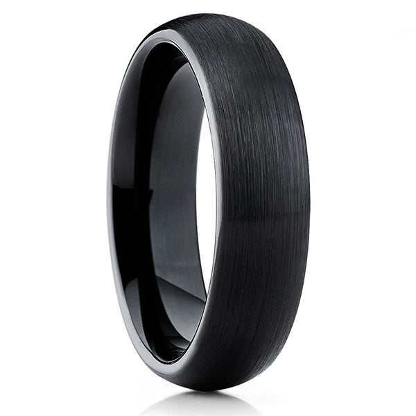 Black Tungsten Wedding Band - Dome Brushed - Tungsten Wedding Ring - Clean Casting Jewelry