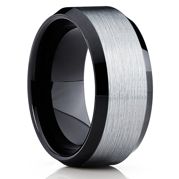 Black Tungsten Ring - Silver Brush - Black Tungsten Band - Me's Ring - Clean Casting Jewelry