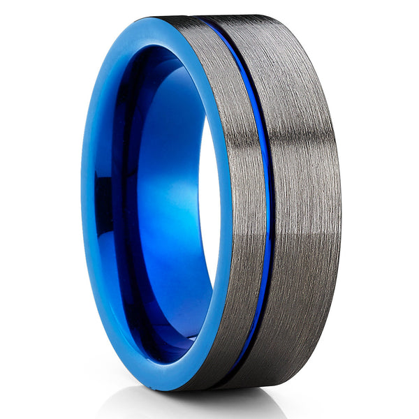 Blue Tungsten Wedding Ring - Gunmetal Gray - Blue Tungsten Ring - Brush - Clean Casting Jewelry