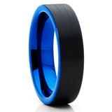 6mm - Blue Tungsten Ring - Black Tungsten - Blue Wedding Band - Brush - Clean Casting Jewelry