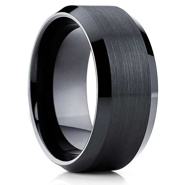 10mm,Black Tungsten Ring,Bushed,Men's Wedding Band,Tungsten Wedding Band