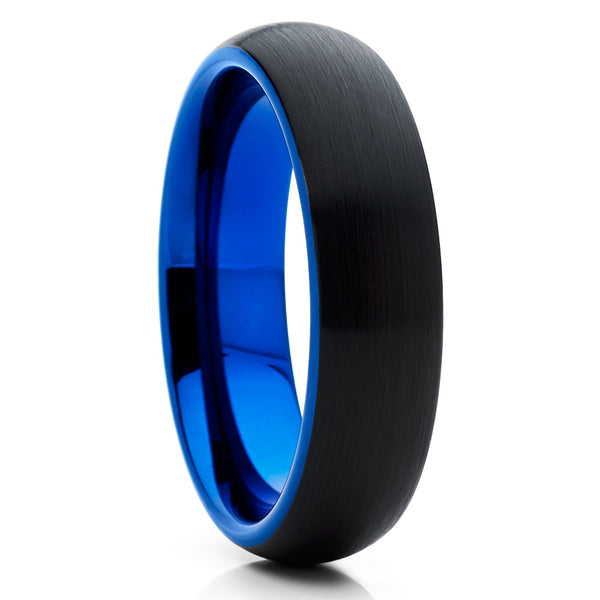 6mm,BLUE Brushed Tungsten Ring,Blue Tungsten Band,Black Tungsten Ring,Dome Ring