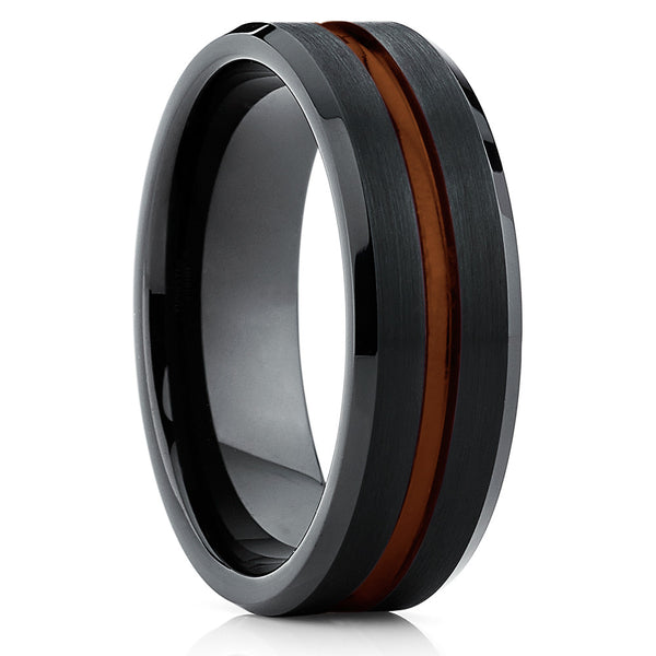 Black Tungsten Wedding Band - Maroon Ring - Tungsten Wedding Ring Grooved - Clean Casting Jewelry