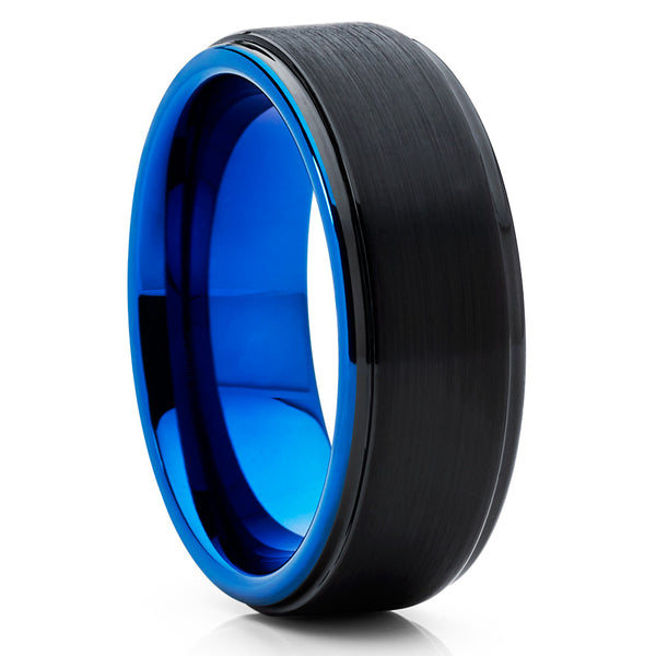 BLUE Tungsten Ring,Tungsten Carbide Ring,Brushed Tungsten,Black Brushed,Unique