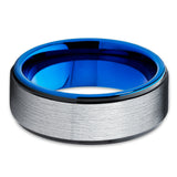 Blue Tungsten Ring,Wedding Band,Tungsten Wedding Ring,Tungsten Carbide Ring