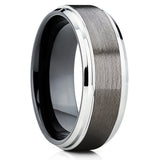 Black Tungsten Band - Men's Tungsten Ring - Gunmetal Ring - 8mm - Clean Casting Jewelry
