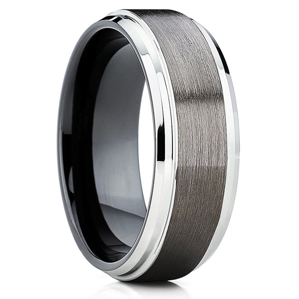 8mm,Gunmetal Tungsten Ring,Silver Edges,Brushed Tungsten Band,Anniversary Ring
