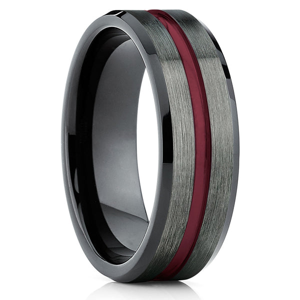 Tungsten Wedding Band - Gunmetal - Tungsten Wedding Ring Maroon Ring - Clean Casting Jewelry