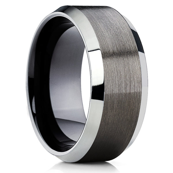 Black Tungsten Wedding Band - Gunmetal - Gray Tungsten Ring - Beveled - Clean Casting Jewelry