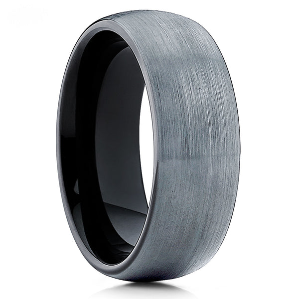 Gray Tungsten Wedding Band - Black Ring - Tungsten Wedding Ring Dome