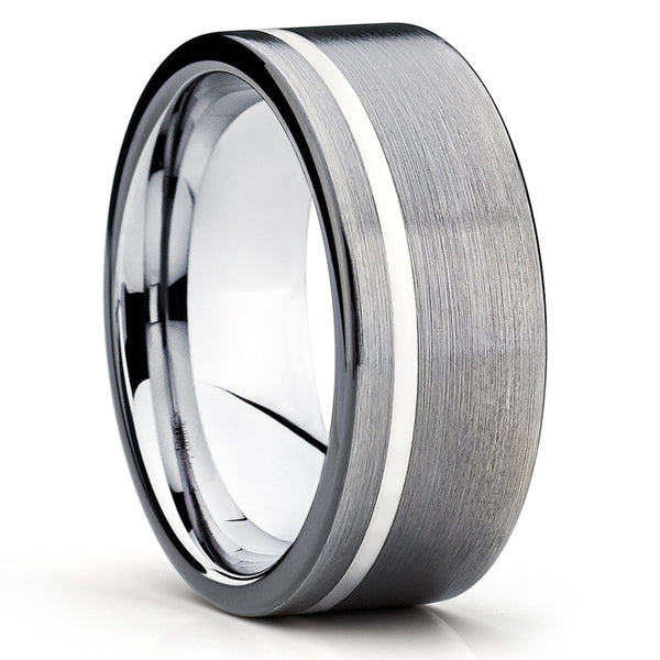 Brushed,Gray Tungsten,Tungsten Carbide,Comfort Fit Ring